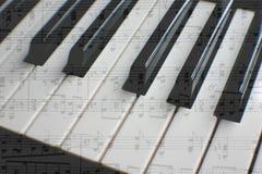 与活页乐谱的钢琴 图库摄影