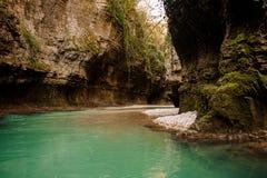 与流动的深绿河的美丽的峡谷在乔治亚 Martvili峡谷 Okatse峡谷 库存图片