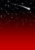 与流星尾巴的简单的红色繁星之夜天空背景 免版税库存图片