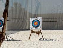 与流行的颜色的射箭目标 免版税库存图片