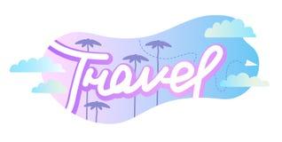 与浅兰和紫色晚上日落颜色的旅行概念简单的印刷术传染媒介例证设计 免版税库存照片