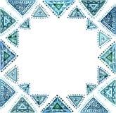 与浅兰的东方装饰品的水彩卡片 图库摄影