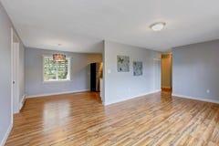 与浅兰的墙壁的空的房子内部 有成套工具的Livign室 免版税库存图片
