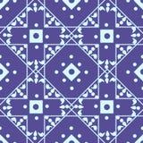 与浅兰的金刚石和正方形的无缝的几何样式 向量例证