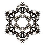 与浅褐色的颜色的圆装饰品黑色在白色背景 库存图片