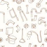 与测量深度被设置的手拉的装饰象的无缝的样式 库存图片