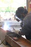 与测量的坐的焊接 库存照片