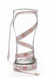 与测量的磁带的玻璃 库存照片