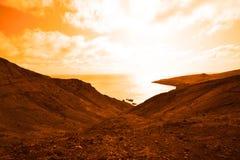 与浩大的海洋的美丽的离开的行星 图库摄影