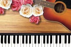 与浪漫华伦泰爱情歌曲的五颜六色的玫瑰 免版税库存照片