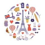 与浪漫法国人旅行元素的巴黎集合 向量例证