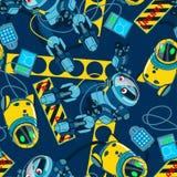 与海军背景无缝的样式的机器人地区 免版税库存图片