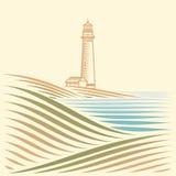 与海和灯塔的风景 库存图片