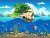 与海岛和帆船的海里的世界 免版税库存照片