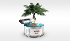 与海岛和棕榈树的锡罐 免版税库存图片