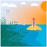 与海岛和灯塔的海风景 图库摄影