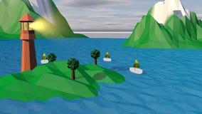 与海岛的Lowpoly风景,塔,小船 免版税库存图片