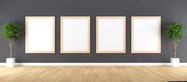 与海报大模型的木制框架 免版税库存照片