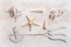 与海星、船锚和海壳的夏天海装饰 库存照片