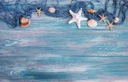 与海星的捕鱼网 图库摄影