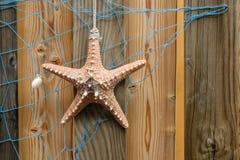 与海星的海星背景和在被风化的木材板条、设计和装饰的蓝色网 免版税库存照片