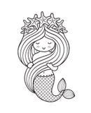 与海星花圈的美人鱼,握她长的美丽的头发 向量例证