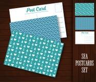 与海样式的明信片 免版税库存图片