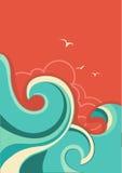 与海波浪和太阳的葡萄酒热带背景 免版税库存照片