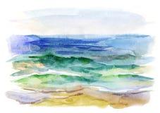 与海波浪的水彩背景 免版税库存图片