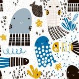 与海洋动物松包,鱼的无缝的样式 织品的,纺织品海里的幼稚纹理 向量背景 库存照片