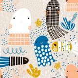与海洋动物松包,鱼的无缝的样式 织品的,纺织品海里的幼稚纹理 向量背景 免版税库存照片