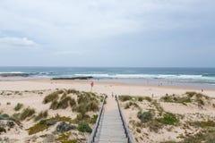 与海浪的海滩在葡萄牙 库存图片