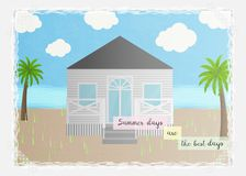 与海滨别墅的夏天卡片和文本`夏日是广告的最佳的几天`或者海报海边假期 向量例证