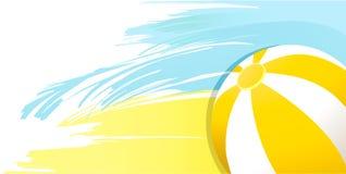 与海滩球的夏天晴朗的黄色背景 库存图片