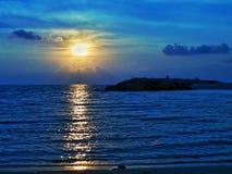 与海的日落 图库摄影