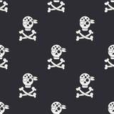 与海盗旗子的无缝的单色平的样式 库存图片