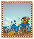 与海盗船甲板1的羊皮纸 库存例证