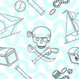 与海盗题材元素的无缝的背景 图库摄影