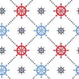 与海舵的传染媒介无缝的背景 在海洋题材的不尽的样式 库存图片