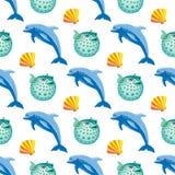 与海豚和鱼丸珊瑚的无缝的样式 库存图片