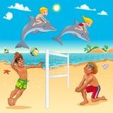 与海豚和beachvolley的滑稽的夏天场面 免版税库存图片