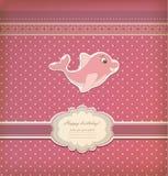 与海豚玩具传染媒介的婴孩卡片 免版税库存图片