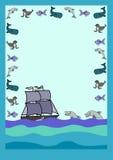 与海豚的信件 免版税库存图片