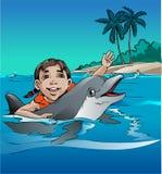 与海豚的戏剧 免版税库存照片