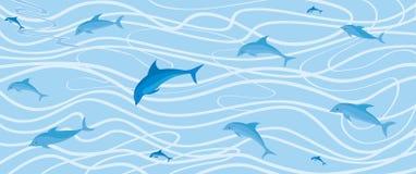 与海豚的波浪背景 库存照片