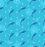 与海豚,海哺乳动物动物的无缝的纹理 库存照片