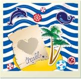 与海豚,鲸鱼,有棕榈的海岛的滑稽的卡片  免版税图库摄影
