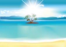 与海边和棕榈树的夏天背景 免版税图库摄影