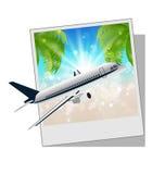 与海边和飞机的照片框架 免版税库存图片