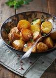 与海运盐的被用烤箱烘的土豆 免版税库存照片